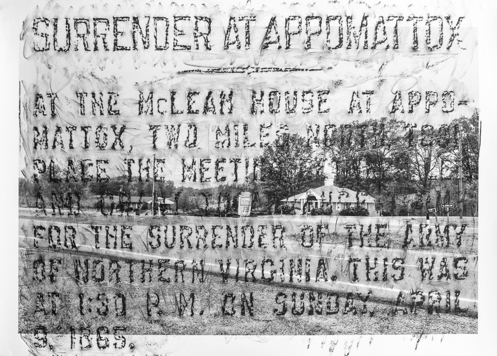 Surrender at Appomattox, K-157, 2015, crayon over archival  pigment print, 32 x 44 inches