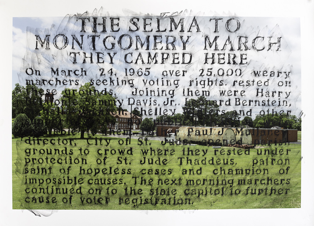 After Selma-to-Montgomery, 2015, crayon over archival pigment print, 32 x 44 inches